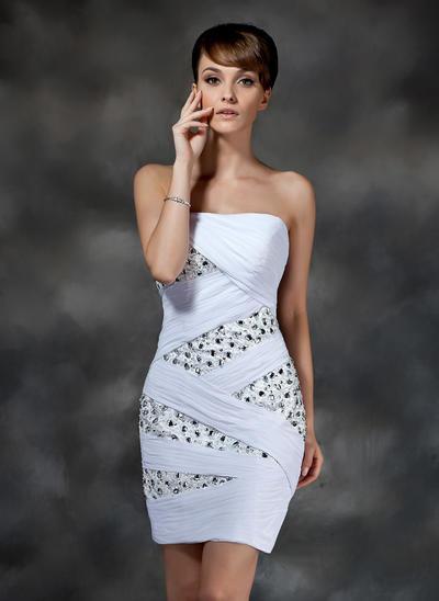 Sheath/Column Strapless Chiffon Sleeveless Short/Mini Ruffle Beading Cocktail Dresses (016008321)