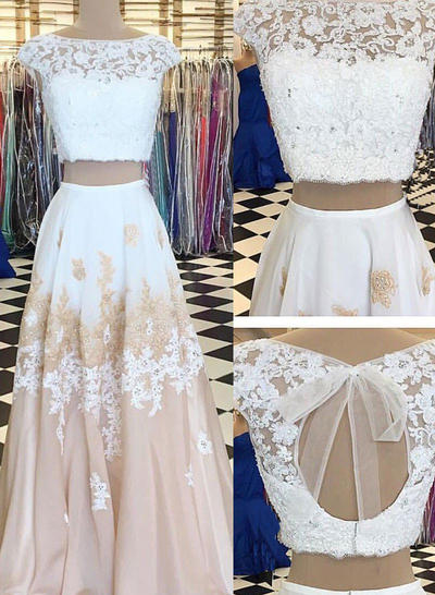 Chiffon Sleeveless A-Line/Princess Prom Dresses Scoop Neck Lace Beading Appliques Lace Floor-Length (018148415)
