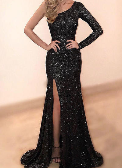 Trumpet/Mermaid One-Shoulder Sequined Long Sleeves Sweep Train Split Front Evening Dresses (017210118)