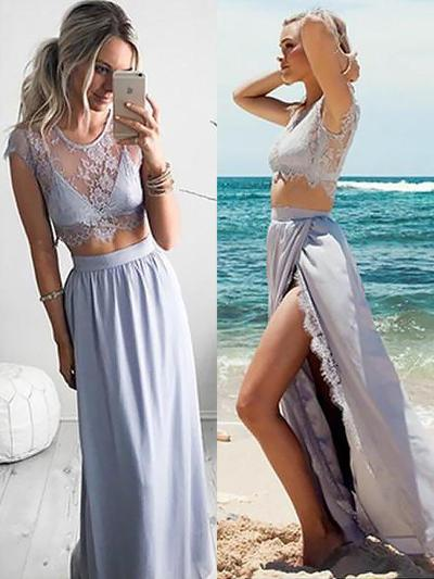 Charmeuse Short Sleeves A-Line/Princess Prom Dresses Scoop Neck Lace Split Front Floor-Length Detachable (018210339)