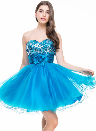 A-Line/Princess Sweetheart Tulle Sequined Sleeveless Short/Mini Ruffle Flower(s) Homecoming Dresses (022069012)