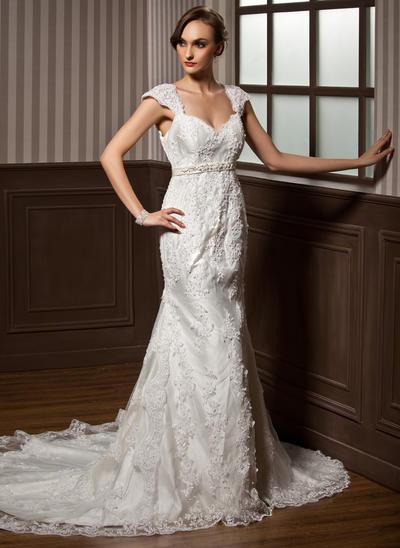 Fashion Chapel Train Trumpet/Mermaid Wedding Dresses Sweetheart Tulle Sleeveless (002196834)