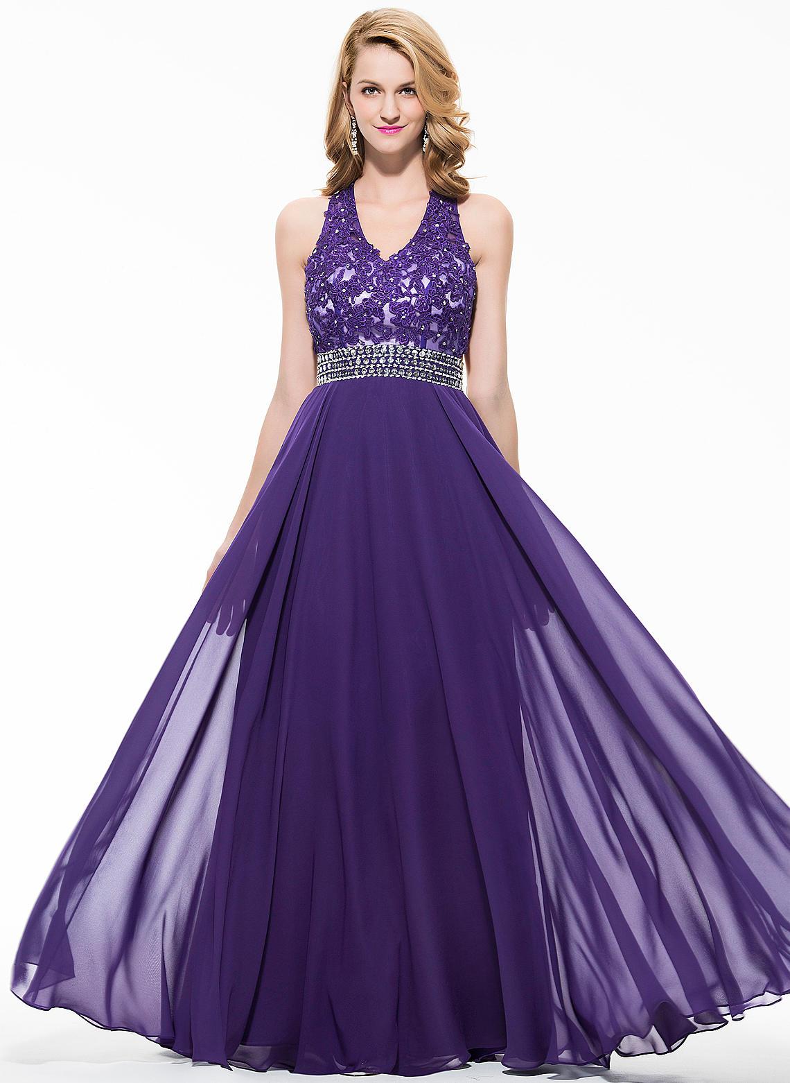 583474fdadf Chiffon Sleeveless A-Line Princess Prom Dresses V-neck Beading Appliques  Lace Sequins